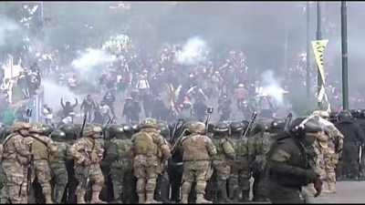 Protesters clash with riot police in Sacaba, central Bolivia