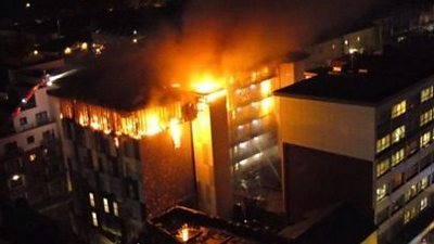 Fire at The Cube student flats