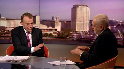 Jeremy Corbyn talking to Andrew Marr
