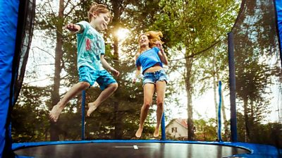 Children on a trampoline