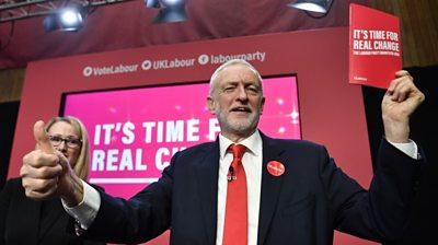 Jeremy Corbyn holding Labour's manifesto