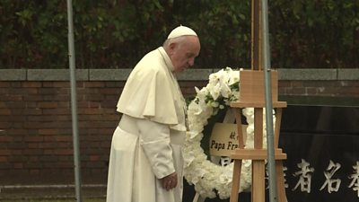 Pope attends ceremony in Nagasaki