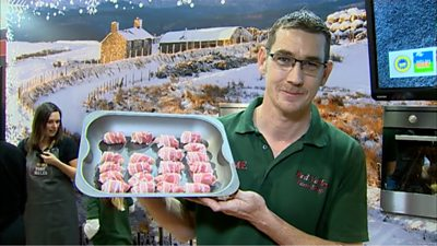 Graeme Carter with his pigs in blankets
