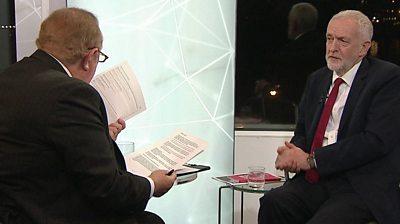 Andrew Neil and Jeremy Corbyn