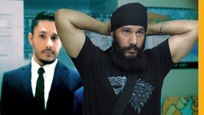 Jaskanwal putting on a turban