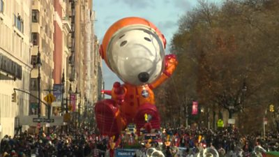Snoopy float at Macy's Thanksgiving Day Parade