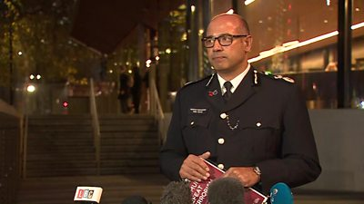 Police officer gives statement at Scotland Yard