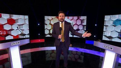 Jon Kay on set of BBC election debate