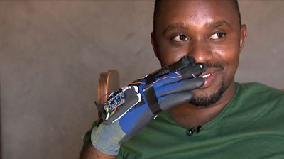 Lucky Mashudu with his sign language glove