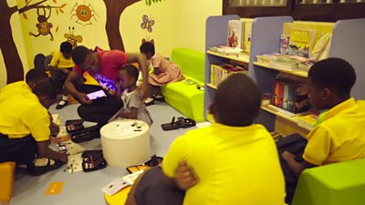 Children learning science with DEXT Technology's science kit