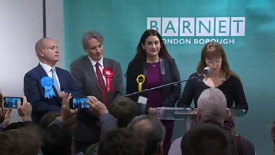 The returning officer reads out the result in Barnet