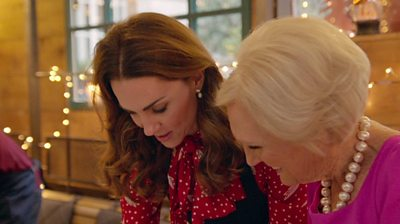 The Duchess of Cambridge with Bake Off host Mary Berry
