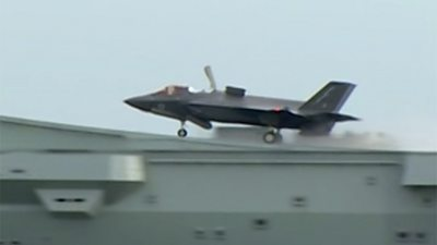 F35 fighter takes off in Portsmouth