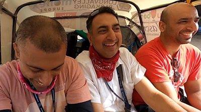 Sukh Doal and friends in a tuk tuk in India