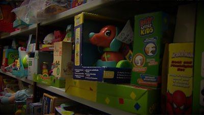 A shelf of toys