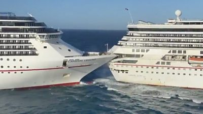 Two cruise ships collide
