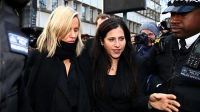 Caroline Flack (left) leaves court