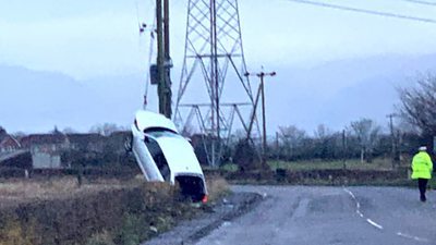 A man has been taken to hospital following the collision near Falkirk