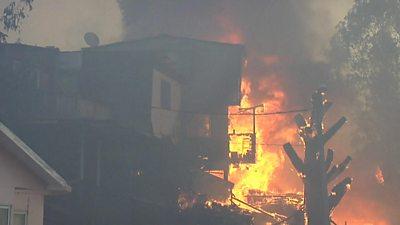 Fire engulfs a house in Valparaíso