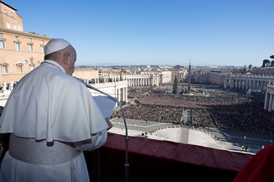 Pope giving Christmas message