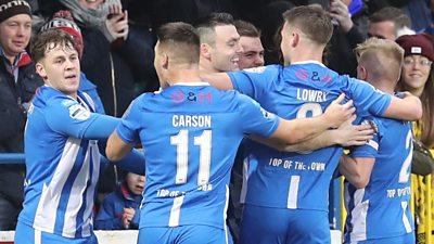 Coleraine players celebrate victory over Ballymena United