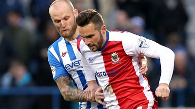 Action from Coleraine against Linfield