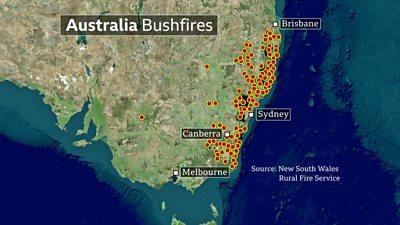 Map of bushfire locations