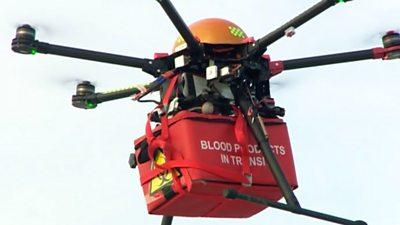 A drone delivering blood samples.