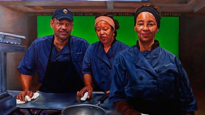 The walls of a prestigious US university now have portraits of dinner ladies alongside historical figures.