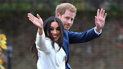 Prince Harry and Meghan waving