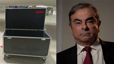 Composite image of a box and Carlos Ghosn