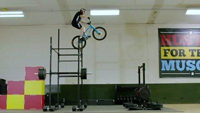 Trials cyclist