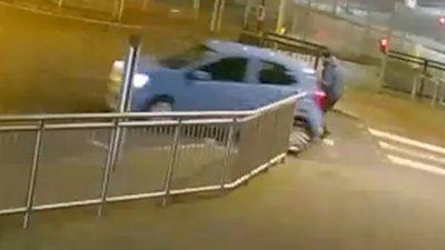 CCTV of pedestrian being struck by car