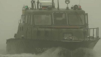 Patrol boat on Tisza river