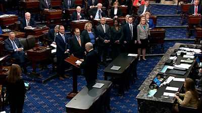 The US Senate's sergeant at arms demands silence from senators as the historic proceedings begin.