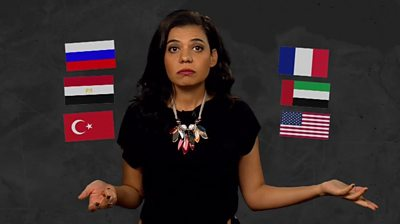 BBC reporter and flags of countries involved in Libya
