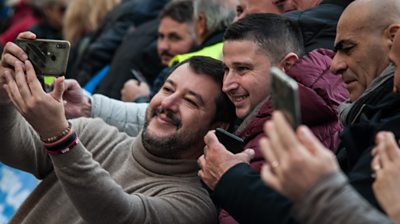 Matteo Salvini and supporters