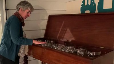 Kitty Ross playing the glass harp