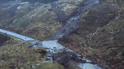 Aerial footage shows the extent of a landslip on the A83 in Argyll.