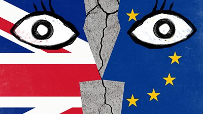 Drawings of two eyes over European Union and UK flags
