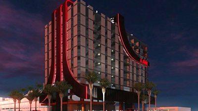 A computer generated image of an Atari hotel