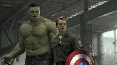 A scene from Avengers: Endgame - Smart Hulk (L) stands next to Captain America (R)