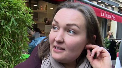 Parisian woman speaking to BBC