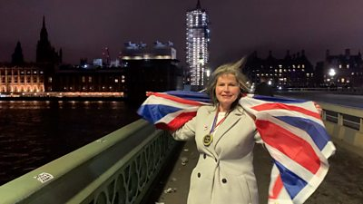 Leave campaigner Mandy Childs celebrates Brexit in Parliament Square