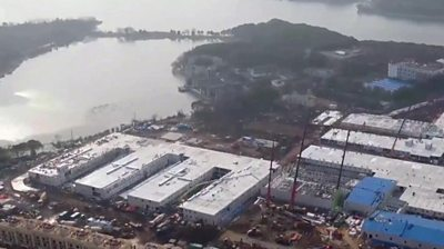 Aerial footage shows the construction of Huoshenshan hospital, which has been built to deal with coronavirus patients.