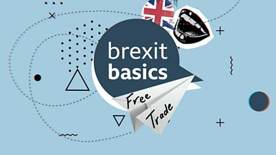 Collage with the words 'Brexit basics' and 'free trade'