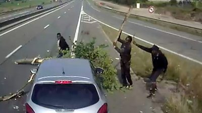 Dashcam showing people attacking vehicles