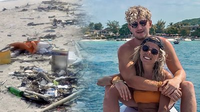 "A couple who met while travelling say seeing the ""scary"" impact of rubbish spurred them into action."