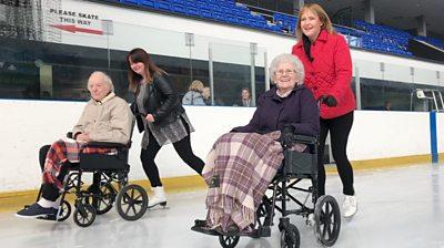 Wheelchair ice skating