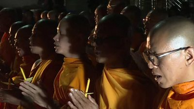 Buddhist monks at a vigil in Nakhon Ratchasima